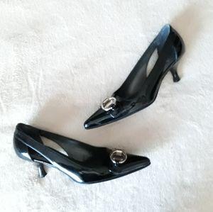 Stuart Weitzman Black Heel w/Buckle Size 4